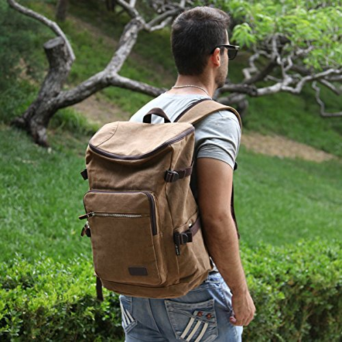 Imagen de eshow bolso de  multifuncional de tela de lona para hombres  de senderismo color marron alternativa