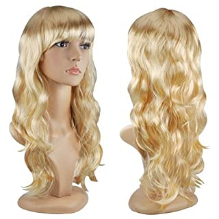 Accessotech Women's Sexy Long Curly Fancy Dress Wigs Cosplay Costume Ladies Full Wig Party Blonde