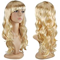 Perruques Femmes Longs Bouclés Deguisees Cosplay Costume - Blonde
