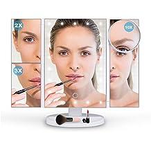 Ovonni LED Spiegel 4 in 1 verschiedene Vergrößerungsspiegel (Normal/2x/3x/10x) mit beleuchtung Faltbarer 180° Verstellbar Kosmetikspiegel für Perfekt Make-Up Weiß