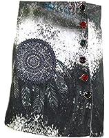 #4085 Damen Winter Patchwork Rock Strass Winterrock Flanell Stiftrock Gr 36 38 40 42 Schwarz