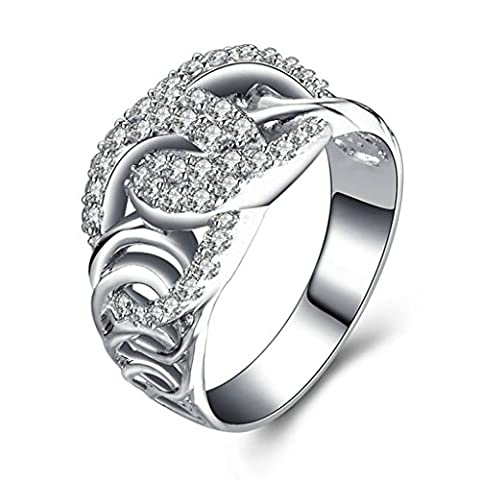Epinki Women Rings, 925 Sterling Silver Ring Wedding Engagement Ring Twisted Hollow Cross CZ Size T 1/2-Custom