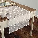 AT17 Tischläufer Deckchen Läufer Bestickt, Spitze Tischläufer Polyester Landhaus Shabby Chic - Stickerei - 50x150 - Weiß - 100% Polyester