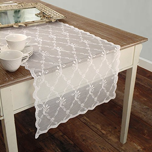 Chemin de Table Brodè en Dentelle de Polyester Shabby Chic et Romantique - Broderie - 50x150 - Blanc - 100% Polyester