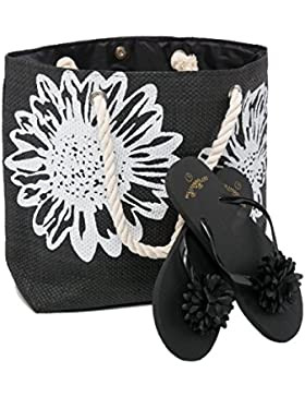 Strandtasche Damen + Zehentrenner Sets – Blume Muster - Airee Fairee