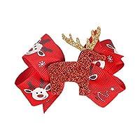 Emorias 1X Christmas Elk Hairpin Bowknot Hair Bow Headband Alligator Clip Christmas Party Children Headdress Accessory