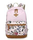DNFC Schulrucksack Canvas Rucksack Mädchen Teenager Schulranzen Blumen Freizeitrucksack Mode Kinderrucksack Fashion Damen Daypack Backpack Schultaschen (Pink)
