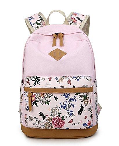 DNFC Schulrucksack Canvas Rucksack Mädchen Teenager Schulranzen Blumen Freizeitrucksack Mode Kinderrucksack Fashion Damen Daypack Backpack...