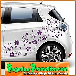 70 fleurs d'hibiscus papillons Vinyle Décalque Autocollant Sticker 12 - 4 cm pour votre auto, votre frigo, vos murs / 60 couleurs de sélection Autocollants voiture