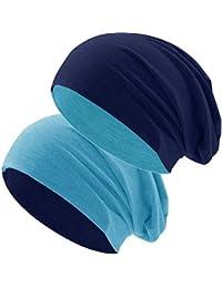 Hatstar Klassische Jersey Slouch Long Beanie Mütze, leicht und weich, Reversible Bicolor für Damen und Herren Wintermütze