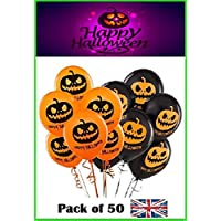 "[Pack of 50] High Quality Printed Halloween Party Decoration Pumpkin Balloons / 25 Orange Balloons and 25 Black Balloons / 12"" Balloon Size"