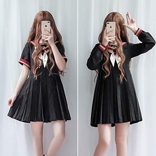Sailor-stil Kleid (QAQBDBCKL Süße Jk Uniform Matrosenanzug Kleid Weibliche Nette Student College Style Sailor Kragen Plissee Kleid)