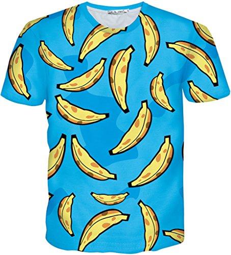 Pizoff Unisex Sommer leicht bunt bequem cool Digital Print T Shirts mit 3D obst banana gelb blau Muster Y1730-M4-L-alfa (T-shirt Gelbes 3d)