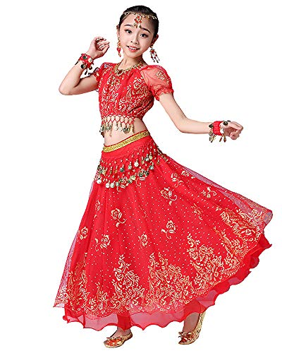 Kostüm Männer Bauchtanz - Grouptap Bollywood indische Kinder Mädchen Volks bharatanatyam Bauchtanz roten Spitzenrock Zweiteilige Kinder Leistung Kostüm Kleid Outfits (105-130cm, Rot)