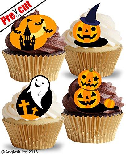 vorgeschnittenen Halloween Kürbisse Castle Ghost essbarem Reispapier/Waffel Papier Cupcake Kuchen Topper Halloween Party Dekorationen (Cupcake Dekoration Für Halloween)