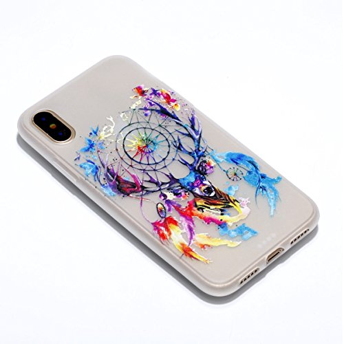 inShang iPhone X 5.8 inch Custodia [Trasparente cover iPhone X 5.8 inch] [luminoso nel buio], comoda Cover posteriore di case di stile di protezione Deer head to catch the net dream
