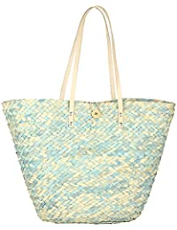HabereIndia Girl's Palm Leaves Chic Tote Bag (Sky Blue and Beige)