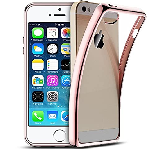 Smartlegend iPhone 5 Coque Silicone ,iPhone 5S Etui Clair , iPhone SE Case iPhone 5 Coque Silicone , Apple iPhone SE iPhone 5 5S Housse Silicone Crystal Transparente Ultra Mince Premium Semi - Transparent Shockproof Anti Slip Soft Rubber Back Panel Bumper Fashion Protection Case - Rose Gold - Apple iPhone SE iPhone 5 5S