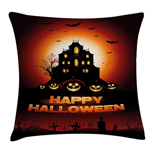Trsdshorts Halloween Throw Pillow Cushion Cover, Happy Halloween Haunted House Flying Bats Scary Looking Pumpkins Cemetery, Decorative Square Accent Pillow Case, 18 X 18 inches, Black Orange Red
