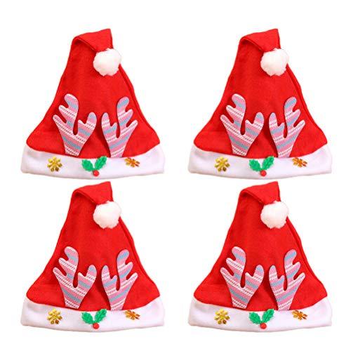 PRETYZOOM 12 STÜCKE Kind Cartoon Weihnachten Hut Krempe Santa Hut Kopfschmuck Party Favors Dekorationen für Kinder (Rosa Geweih)