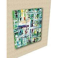 black friday e Cyber Monday Quadro astratto colorato, materico stile espressionista, dipinto a mano, unico e per arredamento di ambiente che dà bella luce, olio su tela60x50cm - Green tea -