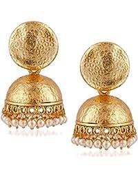 Meenaz Traditional Pearl Jewellery Gold Jhumki Party Wear Stylish Jhumka Earrings For Women Girls Jewellery Set...