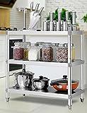 Anna Küchenregale Küchengestelle Boden Mikrowellenofen Rack Drei-Stufen-Ofen Rack Lagerregal Edelstahl-Regal ( größe : 90*45*80cm )