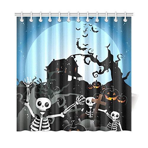 JOCHUAN Wohnkultur Bad Vorhang Halloween Skeleton Holz Polyester Stoff Wasserdicht Duschvorhang Für Badezimmer, 72X72 Zoll Duschvorhang Haken Enthalten (Jungen Teen Halloween-kostüme Einfache Für)