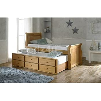 Captains Oak Guest Bed  Drawer Storage Pull Out Bed