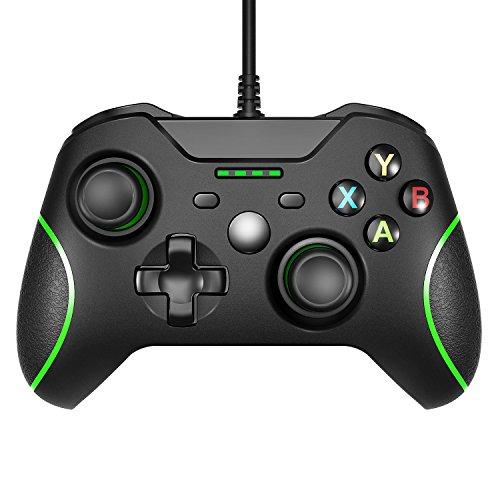 Xbox one game controller con led light,wired gamepad controller per windows 7/8/10, xbox one, pc, tv box joystick android joypad con design ergonomico con dual vibration shock
