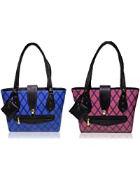 AZED Collections | Combo Of Two Shoulder Handbags | Blue & Purple Colour | For Women