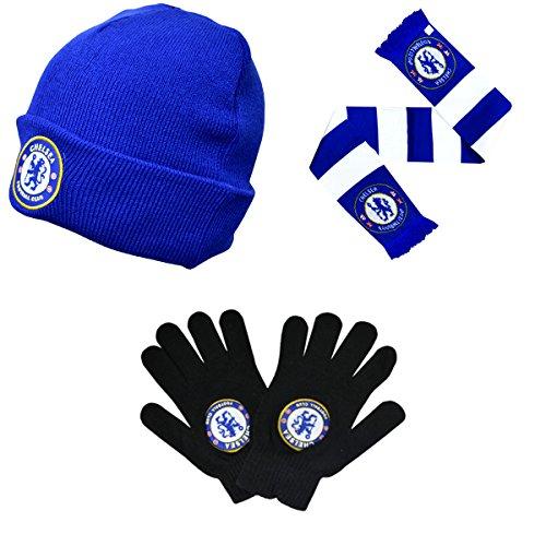 Chelsea FC Winter Warmers Mütze, Schal & Handschuh Set