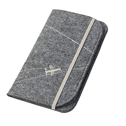 Reisepasshülle/Travel Wallet 'Flugzeug' aus Filz (grau, Farbe wählbar)   Ausweistasche für Reise Dokumente wie Reisepass, Tickets, Wertsachen
