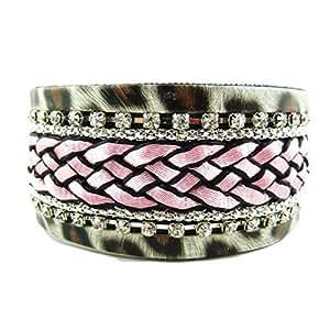 Bracelet Léopard Tresse Coton Rose Brillants Faux Diamants Tendance