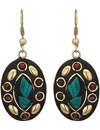 ZIKU JEWELRY Tibetan Style Dangle & Drop Hook Oval Earrings For Girls & Women