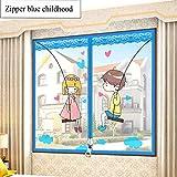YOLE Anti-Moskito-Vorhang-Klettverschluss Magnet Fliegengitter Fenster Vorhang Insektenschutz Reißverschluss des Mittelblocks offen Der Vorhang ist Ideal für die Kinderzimmer,A,100 * 100cm/39 * 39in