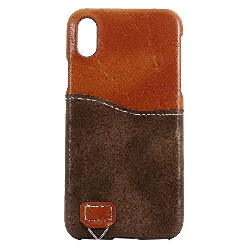 Mxnet IPhone X Case, PC + Lederpaste Kontrastfarbe Schutzhülle mit Kartensteckplatz & Sling ( Farbe : Brown ) Brown