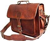 New100% Genuine Men's Vintage Brown Leather Messenger Shoulder Laptop Bag Briefcase with big pocket