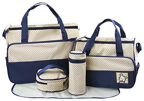 L Y Liying Umhängetasche Babytasche Set Mama Handtasche Tragetasche Wickeltasche 5 Stück Multifunktionrucksack Blau