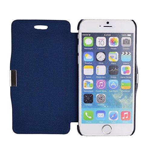 gada - Handyhülle für Apple iPhone 6 - Sehr schönes Leder-Imitat Flipcase Cover mit Magnetverschluss - Pink Dunkelblau