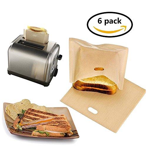 eatronchoi antihaftbeschichtet Toaster Staubbeutel (Set von 6) wiederverwendbar und hitzebeständig leicht zu reinigen, perfekt für Sandwiches Gebäck Pizza Slices Huhn Fisch Gemüse Panini & Knoblauch Toast gold