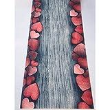 Alfombra Cocina Comart a PVC largo 55 Gris silver rojo corazones
