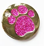 25mm PINK GLITTER PAW Pet ID Tag - ENGRAVED & POSTED FREE by Busy Bits. Cat Dog Print Design Identity Gift Round Disc.