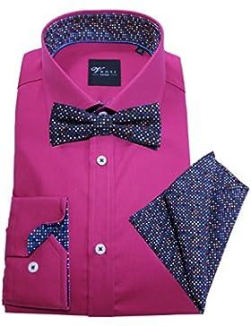 Venti Edition Slim Fit Langarmhemd beere mit Fliege und passendem Einstecktuch 172815600-950