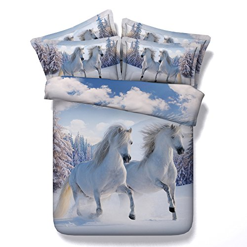 KTLRR 3D Pferd Decor Einzelbett Bettbezug Sets (keine Tröster), Pferd Galopp Sunset Moon, Deko 3Stück Bettwäsche Set Modal Baumwolle, Jf130, Super King(102