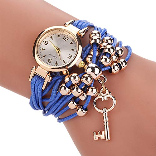 CWYPB Key Pendant Armband Weibliche Tisch Geflochtene Multi-Layer String Perlen Quarz Uhr Fashion Round Butterfly Knot Watch,Blue -