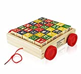 #7: Toyshine Wooden Alphabet Blocks Wagon Toy, ABC Wooden Block Letters, 30 Pcs