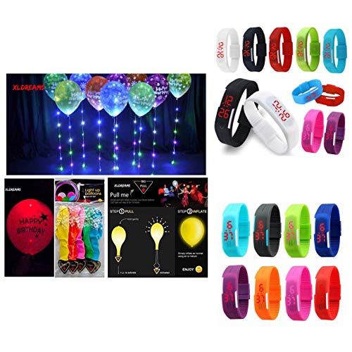 XLDreams-Combo-OfferImported-10-Led-Band-Watch-and-10-Led-Happy-Birthday-Balloons-for-PartiesFestival