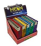 Neon Transparent Elektronik Feuerzeug 50 Stück im Display nachfüllbar