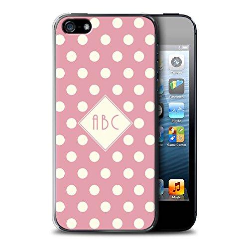 Personalisiert Individuell Tupfen Polka Hülle für Apple iPhone 8 / Dunkelblau Design / Initiale/Name/Text Schutzhülle/Case/Etui Rosa